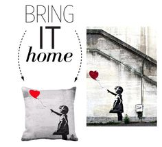 """Bring It Home: Girl with Balloon Pillow"" by polyvore-editorial ❤ liked on Polyvore featuring interior, interiors, interior design, Casa, home decor, interior decorating e bringithome"