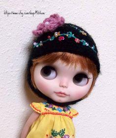 Mohair black flower helmet hat for Pullip Blythe by Mitilene