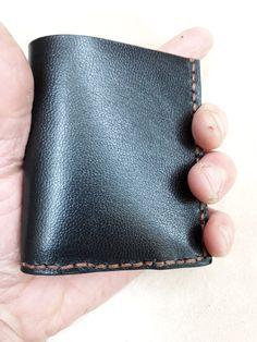 6fcf0ce27d Portafogli nero cucito a mano vera pelle porta foglio a libretto artigianale