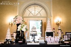 WedLuxe: #Chanel inspired bridal shower #sweettable #desserts