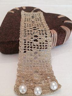 Gold Crochet Lace Bracelet Tatted Cuff Jewelry by alsoljewels