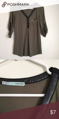 Maurices Olive Green 3/4 Sleeve Top S There is some wear on the faux leather - explanation for low price (see photo for example) Maurices Tops Tees - Long Sleeve