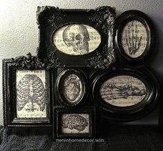Framed Anatomy Vintage Music Sheet Collage - Horror Gothic Skeleton Home Decor (Last One!) This frames collage is perfect to decorate any spooky wall in your home. The frame looks worn and has different sizes and shapes all Halloween Diy, Halloween Decorations, Halloween Stuff, Goth Home Decor, Horror Decor, Gothic Aesthetic, Gothic House, Gothic Mansion, Vintage Music