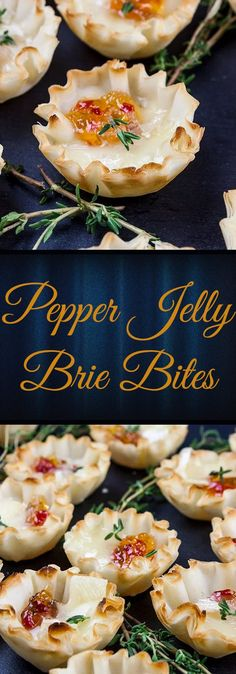 Pepper Jelly Brie Bites - Crispy phyllo shells filled with slightly spicy pepper jelly topped with creamy brie cheese. Sweet and savory bites of flaky deliciousness! Asylum Halloween, Finger, Dairy, Appetizers, Brie Bites, Camembert Cheese, Stuffed Peppers, Good Food, Chex Mix