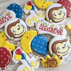 I don't normally do character cookies but Curious George was too fun to pass up! Curious George Party, Curious George Birthday, Star Cookies, Cute Cookies, Baby Shower Cookies, Birthday Cookies, Anniversary Parties, 2nd Birthday, Birthday Ideas
