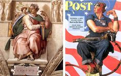 16L  variation Rosie the Riveter Norman Rockwell et Michel-ange