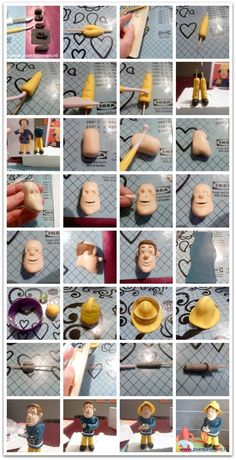 muñeco paso a paso en fondant - How-to Brandweerman Sam, geboetseerd van Fondant. (How-to Fireman Sam, made of fondant) Fondant Toppers, Fondant Cakes, Cupcake Cakes, Fireman Birthday, Fireman Party, Cake Topper Tutorial, Fondant Tutorial, Fondant Figures, Fire Engine Cake