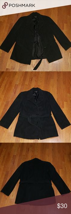 New York & Co Coat Gently used women's coat. No rips. Small stain in front as shown on pic 4 not noticeable when buttoned up. Still has the original buttons and belt. Color is more of a charcoal gray/black. Has been sitting in my closet and needs a new owner. 🙋♀️ Let me know if you have any further questions.  Happy Poshing! 🎈🎈🎈 New York & Company Jackets & Coats