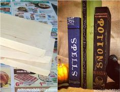 Upcycle scrap lumber into spooky spell books for Halloween. Get the simple instructions + 7 more DIY Halloween decorations from reclaimed wood >> http://blog.diynetwork.com/maderemade/2015/09/25/7-spooky-halloween-decorations-from-reclaimed-wood/?soc=pinterest