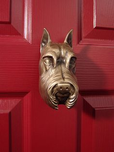 Michael Healy - Artistic Decorative Hardware :: Schnauzer DogKnocker by Michael Healy-Bronze