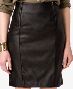 Zippered Faux Leather Pencil Skirt | LOVE21 - 2020392485