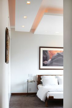 White bedroom and floating ceiling. NYMag.com