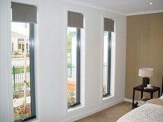 Aluminium awning windows have a pleasant slimline architectural appearance, which make them one of the more discreet window types available. Living Room Zones, Narrow Living Room, House Extension Plans, House Extension Design, Blinds For Windows Living Rooms, Windows And Doors, Tall Windows, House Window Design, Modern House Design