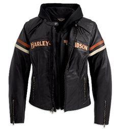 98142-09VW - Harley-Davidson® Womens Miss Enthusiast 3 In 1 Black Leather Jacket - Barnett Harley-Davidson®