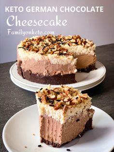 Keto German chocolate cheesecake - Family On Keto Almond Recipes, Baking Recipes, Dessert Recipes, Keto Recipes, Dishes Recipes, Diabetic Recipes, Baked Cheesecake Recipe, Low Carb Cheesecake, Cookie Cheesecake