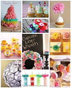 a roundup of cupcake liner crafts from around the web