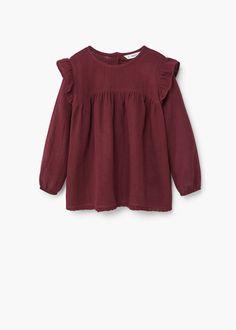 Camisa algodón volante - Niños | MANGO Kids España