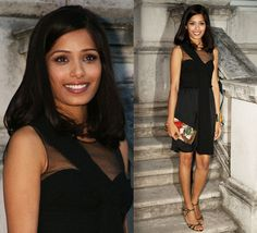 Freida Pinto in her LBD with a colorful clutch