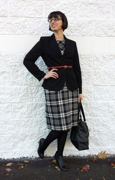 Librarian for Life + Style | Office outfit with plaid sheath dress