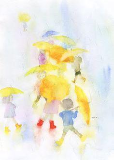 Children with Yellow Umbrellas (1971 - 1971) por Chihiro Iwasaki Chihiro Art Museum