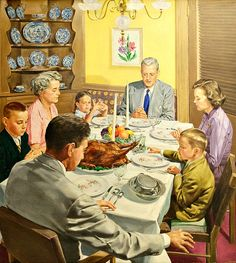 """Thanksgiving"" One of America's most wonderful family &friends get together. Retro Images, Vintage Pictures, Vintage Images, Vintage Posters, Vintage Thanksgiving, Vintage Christmas, Nostalgic Art, Arte Country, Thanksgiving Celebration"