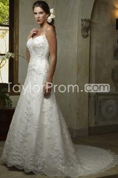 Elegant A-Line/Princess Spaghetti Straps Floor-length Chapel Appliques Wedding Dresses