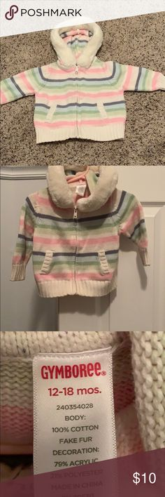 ae197f27582 Gymboree Sweater Multi color sweater to match any color 100% cotton Fake fur  around hood