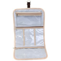 Keeping it all together while you're in route. Organize and protect your cosmetics and jewelry in a variety of compartment sized pockets. The clear plastic interior allows you to spot items quickly, and closure strap makes for easy hanging from a towel rack. Size: 23.75h (unfolded) x 12.25w