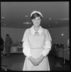 332164PD: Nurse E.W. Turner in historic uniform at King Edward Memorial Hospital for Women open day, October 1969 (Click to Start Zoom)