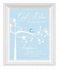 Christening Gift -Baptism Gift -Baby Boy Personalized Print -Bird Name Wall Art for Nursery-other colors available