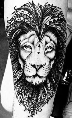 Tribal lion tattoo.                                                                                                                                                                                 Mehr