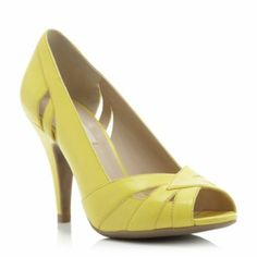 dune ladies yellow cut out peep toe court shoe, dune shoes online Current Fashion Trends, Yellow Shoes, Rich Girl, Yellow Leather, Court Shoes, Womens High Heels, Dune, Shoes Online, Wedding Shoes