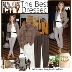 Men's Wear Inspired; cropped pants, taupe & fur jacket, cream belted blouse