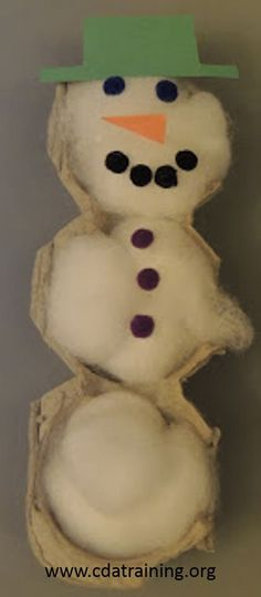 Egg carton, cotton ball snowman
