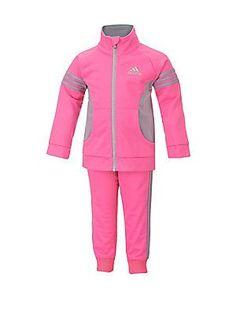 Adidas Girl's Jogger Jacket Set - Pink - Size