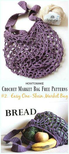 Easy One-Skein Market Bag Crochet Free Pattern - #Crochet; Market Grocery #Bag;Free Patterns Crochet Bags, One Skein Crochet, Crochet Market Bag, Free Crochet Bag, Crochet Purse Patterns, Crochet Handbags, Crochet Shell Stitch, Crochet Purses, Crochet Dresses