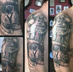 Amazing Grey Black Father Hugging Son Family Tattoo Mens Upper Arms