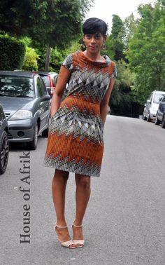 African print high collar dress by HouseofAfrika on Etsy