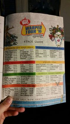 All the bands at Warped tour of which stages they are performing on