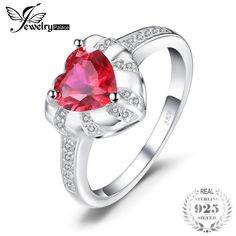 JewelryPalace Love Heart Created Red Ruby Engagement Rings For Women Charms 925 Sterling Silver Fashion Fine Jewelry Gemstone Engagement Rings, Gemstone Rings, Ruby Jewelry, Fine Jewelry, Fashion Earrings, Women's Earrings, Fashion Ring, 925 Silver, Silver Rings