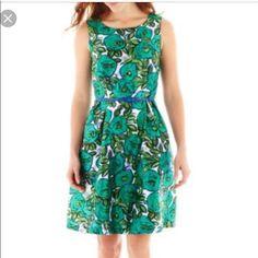 Fit And Flare Liz Claiborne Dress In Jewel Tones