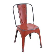 Expressions - This Chair is Great For The Desk or For Dining. It Features Distressed Painted Red Metal