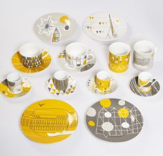 Mini Moderns 'Festival of Britain' porcelain tableware This is gorgeous Mid-century Modern, Ceramic Tableware, Deco Design, China Patterns, World Of Color, Mellow Yellow, Mid Century Design, Interiores Design, All The Colors