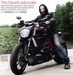 Keenu Reeves Ducati Diavel - bad boy look works!