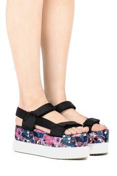 Jeffrey Campbell Shoes FAROL Platforms in Black Neoprene Blue Floral Combo