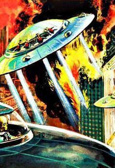 Saucers. Pulp Fiction Art, Science Fiction Art, Retro Rocket, Vintage Robots, Alien Vs Predator, Aliens And Ufos, Bd Comics, Universe Art, Fantasy Illustration