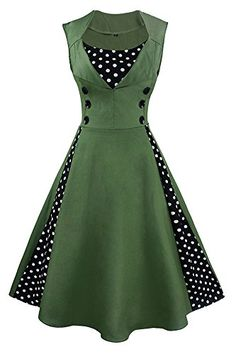 c0a96350313 Vintage style patchwork swing dress featuring classic polka dot patchwork