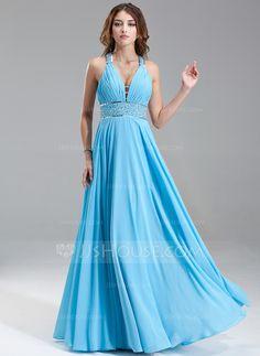 A-Line/Princess V-neck Floor-Length Chiffon Prom Dress With Ruffle Beading Sequins (018004867)
