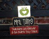 Teacher appreciation wood blocks-personalized blocks-teacher gift. $15.00, via Etsy.