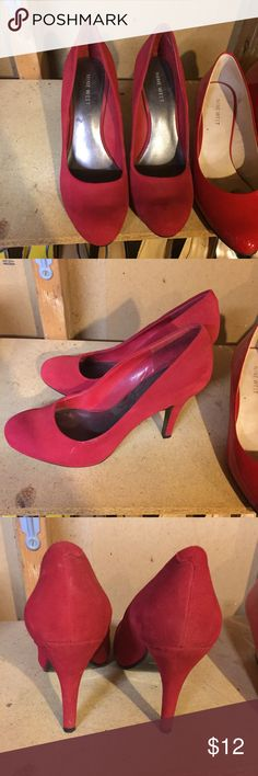 Nine West red suede pumps Hidden platform. Great condition. Selling because I can no longer wear stilettos to work. TTS. Nine West Shoes Heels